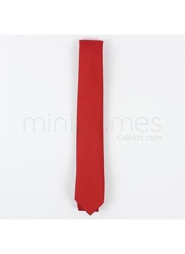 Doctor Junior Çocuk Kravatı Kendinden Desenli Kırmızı